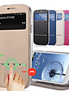 Ultrathin Solid Color Capa PU Leather + Tpu Smart Sliding Answer View Window Flip Case for S3 i9300 9300 With Kickstand