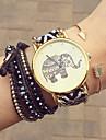 아가씨들 패션 시계 팔찌 시계 석영 섬유 밴드 꽃패턴 보헤미안 블랙