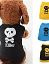 Cat / Dog Costume / Shirt / T-Shirt Black / Blue / Yellow Summer Skulls / Letter & Number Wedding / Cosplay / Halloween