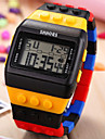 Toy Brick Style Digital Date Day Alarm Chronograph Backlight Unisex Plastic Sport Watch Cool Watch Unique Watch