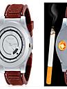 남성 손목 시계 독특한 창조적 인 시계 석영 PU 밴드 창의적 블랙 브라운