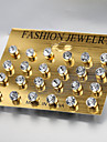 European and American fashion 12 pairs of earrings zircon Stud Earrings Wedding / Party / Daily / Casual 1set