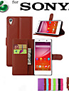 For Sony Case / Xperia Z5 Card Holder / Wallet / with Stand / Flip Case Full Body Case Solid Color Hard PU Leather for SonySony Xperia Z5