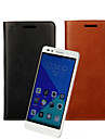 For Huawei Case Card Holder / Wallet / with Stand / Flip Case Full Body Case Solid Color Hard PU Leather Huawei Huawei Honor 7