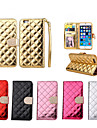 botao de Bling do diamante de luxo verifique a superficie brilhante caso estande pu carteira de couro para iphone 6 / 6s (cores sortidas)