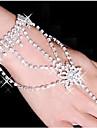 Женский Wrap Браслеты Браслеты-кольца Сплав Стразы Серебрянное покрытие Имитация Алмазный В форме звезды Белый Бижутерия 1шт