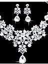 Mulheres Conjunto de Joias Brinco Colares Statement Moda Dupla camada Bijuterias Destaque bijuterias Imitacoes de Diamante Caido Brincos