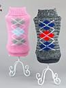 Коты / Собаки Свитера Розовый / серый Одежда для собак Зима В клетку Сохраняет тепло