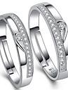 Alliances Ajustable Mariage Soiree Quotidien Decontracte Bijoux Argent sterling Zircon Femme Hommes Couple Couple de Bagues 2pcs,reglable