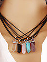 Quartz Necklaces Turquoise Pendant Necklace Female Amethyst Natural Stone Necklaces Hexagonal Prism