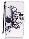 Pour Samsung Galaxy Coque Portefeuille Porte Carte Avec Support Clapet Coque Coque Integrale Coque Crane Cuir PU pour SamsungS6 edge plus