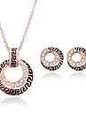 Ensemble de bijoux Imitation de diamant Mode Or Rose Mariage Soiree Quotidien Decontracte 1set 1 Collier 1 Paire de Boucles d\'Oreille
