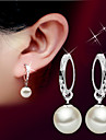 Lureme®  Korean Fashion 925  Sterling Silver Glass Shell Pearl Embroidery Earrings