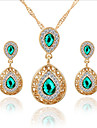 Lucky Doll Women\'s All Matching Luxury Gem Rose Gold Plated Zirconia Water Drop Necklace & Earrings Jewelry Sets