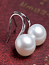 Women\'s Fashion Korean Style Silver Plated Large Pearl Stud Earrings