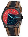 Men\'s Watches Discoloration Watches Waterproof Multiple Time Zones Movement Sport Genuine Leather Quartz Wrist Watch Cool Watch Unique Watch