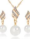 diamant spiral perle / alu smykker sæt bryllup / fest / daglig / afslappet 1set