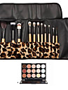 12PCS White Handle Makeup Brush Set with Leopard Package & 15 Color Concealer