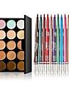 15 цветов контура крем для лица макияж маскирующее палитра + 12 шт красочные тени для век долговечными карандаш для глаз