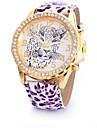 Women\'s Fashion Watch Simulated Diamond Watch Quartz Leather Band Leopard Multi-Colored