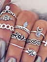 Ring Flower / Cross / Teardrop / Moon Bohemia Style Party / Daily / Casual Jewelry Alloy Women Set / Midi Rings 10pcs,One SizeGold /