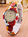 Women\'s Fashion Watch Quartz Plastic Band Flower Multi-Colored Strap Watch