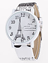 Women\'s Fashion Watch Quartz Leather Band Eiffel Tower Flower White Blue Brown Khaki Strap Watch