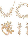 Набор украшений Свадебные комплекты ювелирных изделий Кристалл Камни по месяцу рождения Хрусталь Серебряный Золотой Ожерелья Серьги Кольца