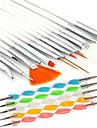 15pcs arte do prego projeto pintura caneta de desenho de escova com 5pcs 2-way que pontilham marbleizing ferramenta caneta