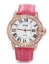 Women/Ladies\'s White Crystal Case Analog Quartz PU Leather Band Fashion Watch