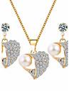 Бижутерия 1 ожерелье 1 пара сережек Стразы Повседневные Сплав 1 комплект Женский Золотой Свадебные подарки
