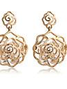 Women\'s Fashion Hollow Rose Shape Zircon Drop Earrings