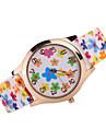 Женские Модные часы Кварцевый Японский кварц Повседневные часы силиконовый Группа Цветы Черный Белый Коричневый Разноцветный