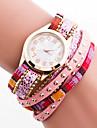 de cuero cristalina del estilo bohemio de las mujeres con la caja blanca reloj pulsera de cuarzo analogico de moda banda de remache