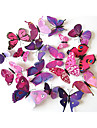 12 PCS Colorful Purple Butterfly Stickers Animals Decals 3D Wall Stickers Plane Wall Stickers,Plastic 12pcs