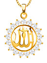New Fashion Jewelry 18k Gold Plated Muslim Islam Allah Pendant Necklace Cubic Zirconia For Men Women Gift P30166