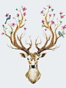 NEW Creative Sika Deer Living Room Bedroom Background Wall Stickers Fashion Cartoon Animals Wall Decals