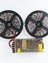 zdm® 2x5m 140w 600x5050 SMD LED koud wit / warm wit en aluminium behuizing AC110-240V naar dc12v10a transformator