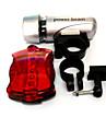 Eclairage de Velo,Set d\'eclairage avant et arriere-3 Mode 50 Lumens Facile a transporter AAA / AAx6 Batterie Cyclisme/Velo Silver / Rouge