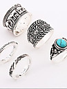 Antique Silver Elephant Turquoise  Alloy Ring Midi Rings Daily / Casual 1set