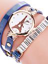 Mulheres Relogio de Moda Bracele Relogio Quartzo imitacao de diamante Strass / PU Banda Torre Eiffel Legal CasualPreta Branco Azul