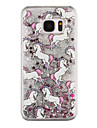 Whitehorse Pattern Flowing Quicksand Liquid Glitter Plastic PC For Samsung Galaxy S7 edge Galaxy S7