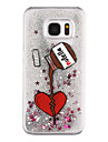 Feather Pattern Flowing Quicksand Liquid Glitter Plastic PC For Samsung Galaxy S7 edge Galaxy S7