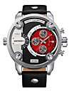 WEIDE® Men Military Design Dual Time Zones Watch Quartz Analog Leather Strap Wrist Watch Cool Watch Unique Watch Fashion Watch