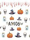 1pcs Nail Art Halloween Sticker Skull Interesting Animal Pumpkin DIY Nail Art Decoration A1106-1110