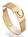 Kalen®High Polishing 316L Stainless Steel 18k Gold Plated Mesh Bracelets for Men Christmas Gifts