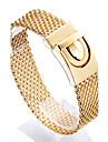Homens Pulseiras em Correntes e Ligacoes Moda Aco Inoxidavel Chapeado Dourado 18K ouro Forma Geometrica Joias Para Presentes de Natal