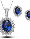 Set de Bijoux Boucles d\'oreille goujon Pendentif de collier Saphir Mode Europeen Elegant Gemme Zircon Strass Forme Ovale BleuColliers