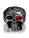 Bague Acier inoxydable Forme de Tete de Mort Style Punk Argent Bijoux Halloween Quotidien Decontracte Sports 1pc