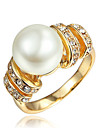Ring Pearl Gold Plated 18K gold Gold White Jewelry Wedding Party Daily Casual 1pc
